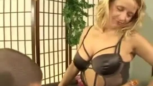 Cuckolding blonde mature mom takes care of bukkake boy