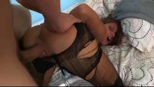 Slutty brunette likes to get fucked on the couch, in a doggy- style position, until she cums